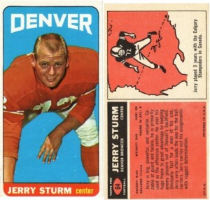 1965 Topps Full Card - Jerry Sturm of the Denver Broncos