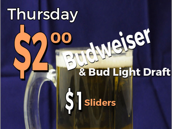 Thursday Special: $2.00 draft beer